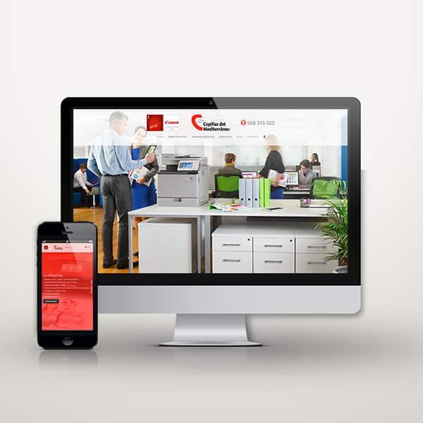 Mockup de página web de Copifax en escritorio y móvil